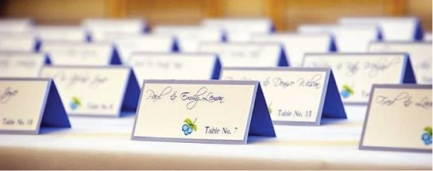 Blueberry Wedding Seating Cards