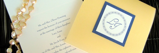 Gold and Sapphire Blue Square Wedding Invitation