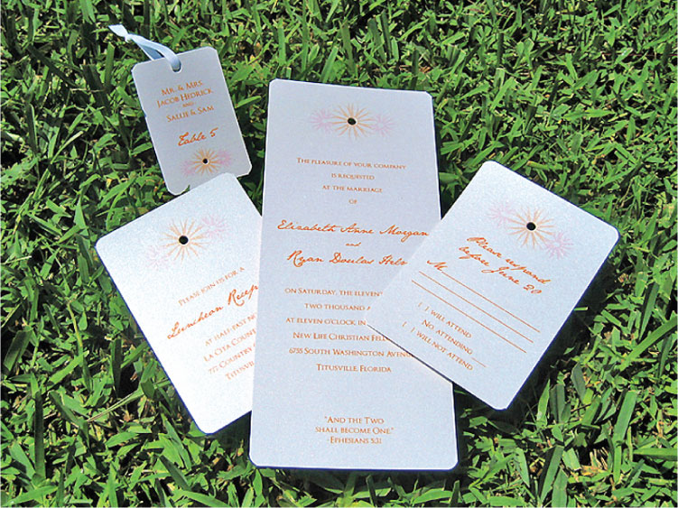 Orange & Pink Daisy Trio  Wedding Invitation