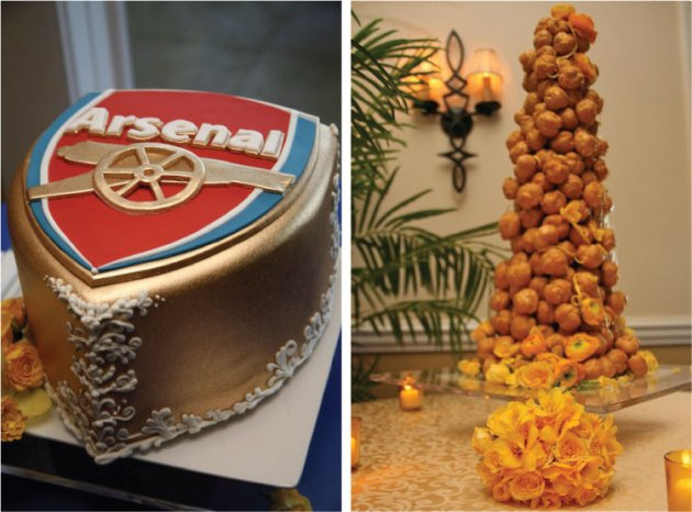 Croquembouche Wedding Cake & Arsenal Football Grooms Cake