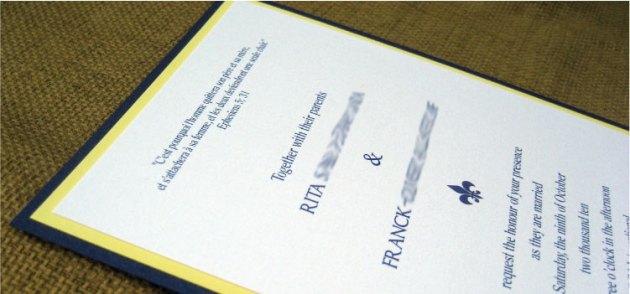 Sapphire & Lemon Yellow Fleur de Lis Wedding Invitation