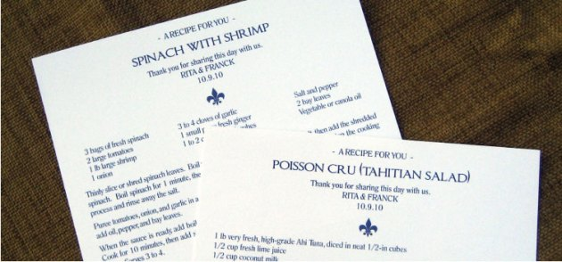 Blue Fleur de Lis Recipe Card Favors