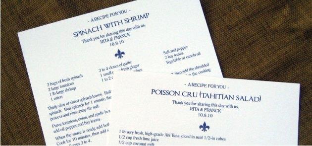 Blue Fleur de Lis Recipe Card Favors