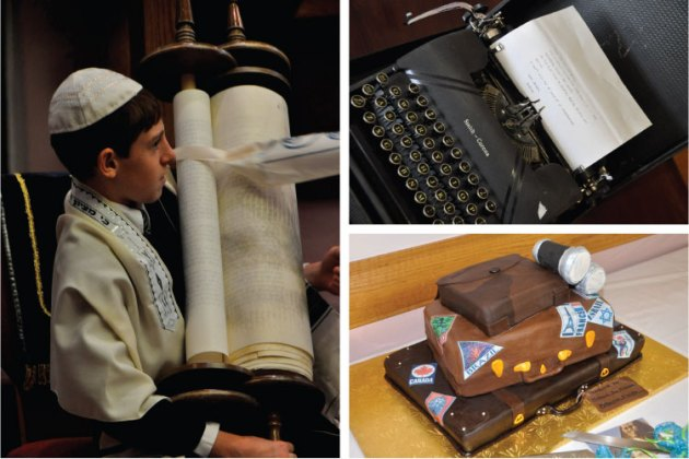 Nathan, an old typewriter, and a suitcase cake