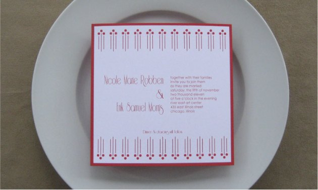 Red Retro-Mod Wedding Invitation