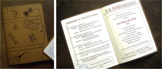 Train ticket and vintage suitcase Bar Mitzvah invitation