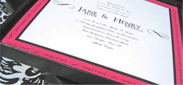 Black and fuchsia square wedding invitation in slimline mailing box