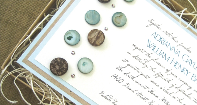 Soft Bue Driftwood Wedding Invitation