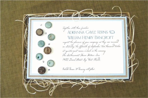 Boxed wedding invitation with shell and wood beads