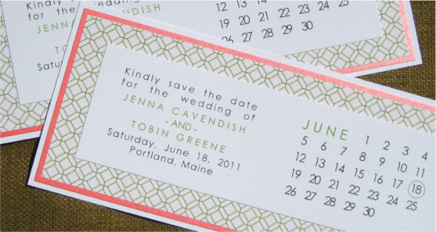 Coral and Jade Green Save-the-Date