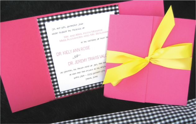 Gingham wedding invitation in black, hot raspberry, and lemon yellow
