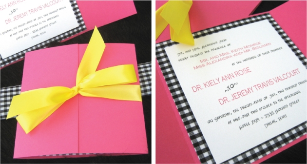Gingham fabric wedding invitation