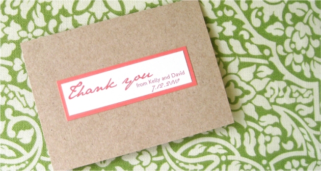 Salmon Pink and Light Oatmeal Thank You Card