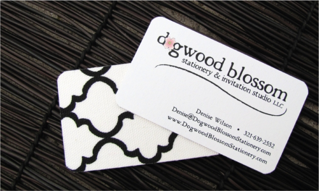Fabric wedding stationer business cards