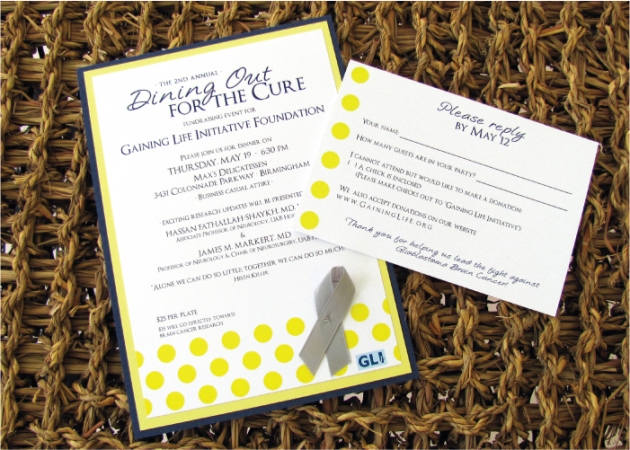 Navy blue and banana yellow invitation with gray ribbon