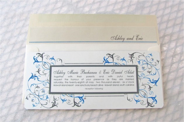 Aqua blue and slate gray wedding invitation with custom liner