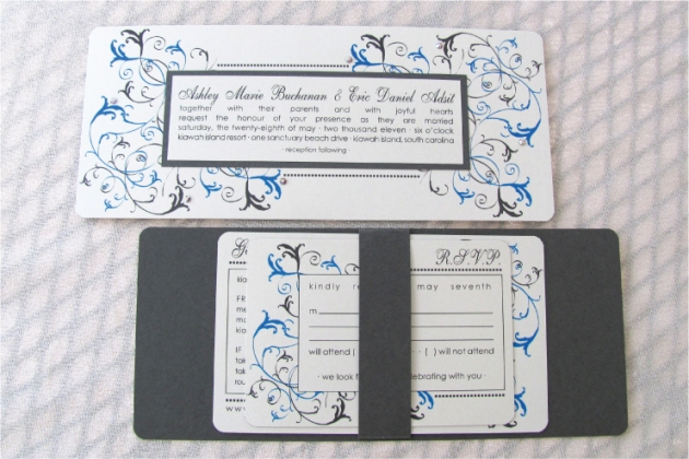 Aqua blue and slate gray banded wedding invitation with crystals
