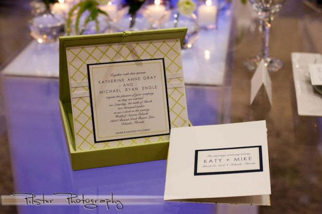 Lime green and navy blue wedding invitation in silk box