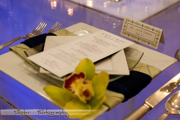 Bright green and dark blue wedding menu and escort card