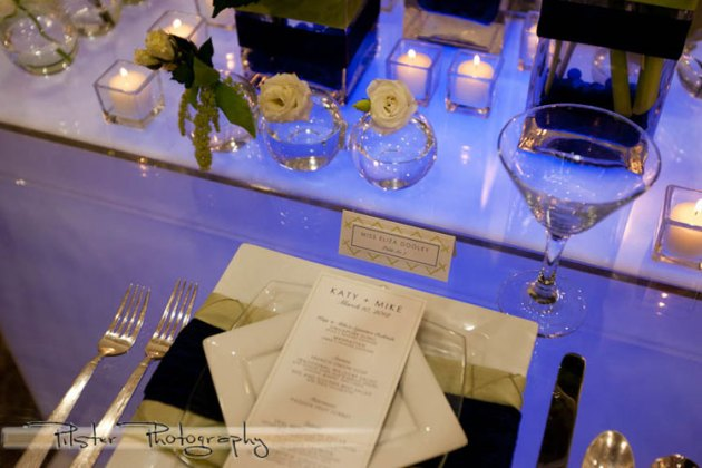 Lime green and navy blue wedding menu and seating card