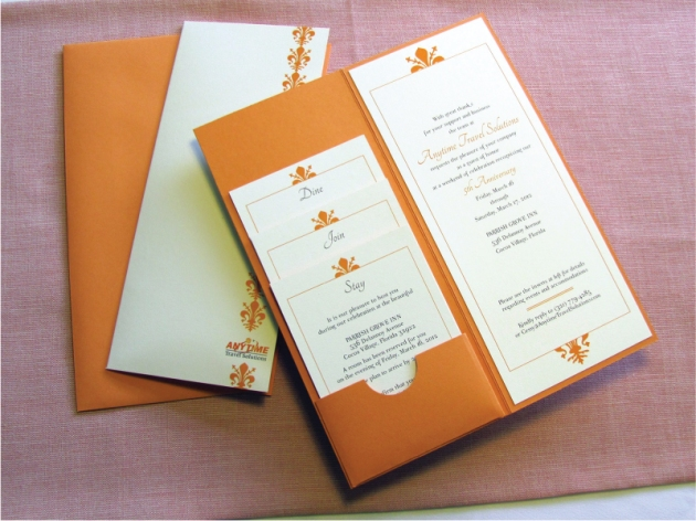 Orange and cream white corporate custom-designed pocket invitation