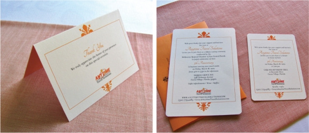 Orange and cream white corporate custom-designed thank you card and invitation