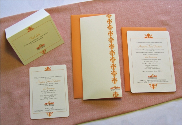 Orange and cream white custom-designed corporate anniversary invitation