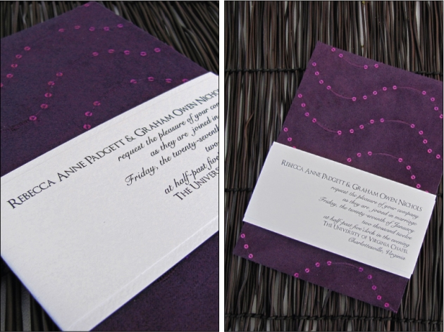 Eggplant purple wedding invitation with sequins
