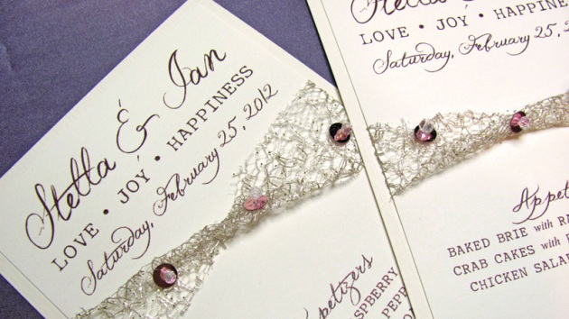 Pale gold and blush pink wedding menus with sequins