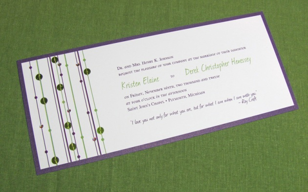 Plum purple and jade green wedding invitation with crystals and sequins