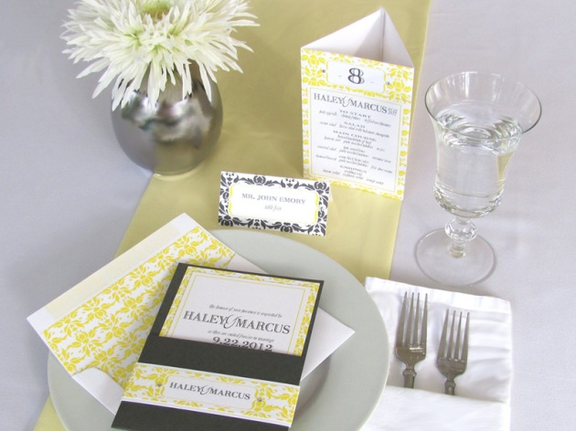 Yellow and graphite damask wedding invitation, menu, table number, and escort cards