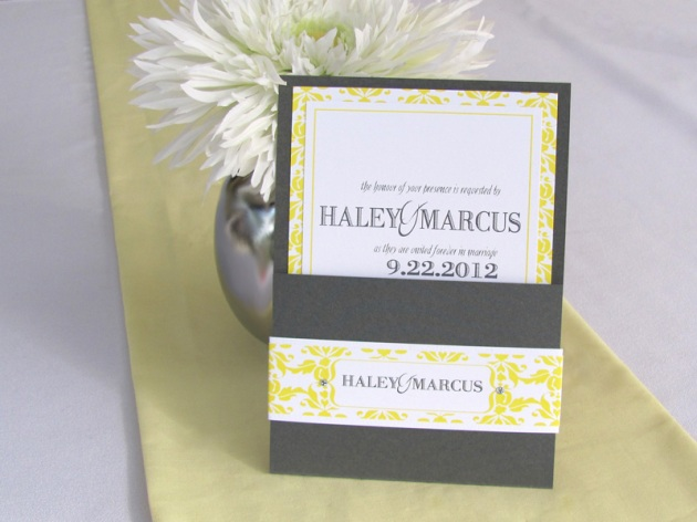 Yellow and graphite damask wedding invitation