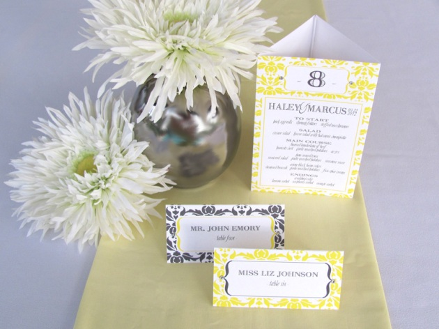 Yellow and graphite damask wedding reception menu, table number, and escort cards