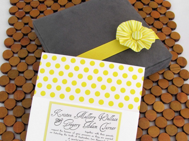 Yellow and Stone Gray Polka Dot Boxed Wedding Invitation with hand-sewn fabric flower