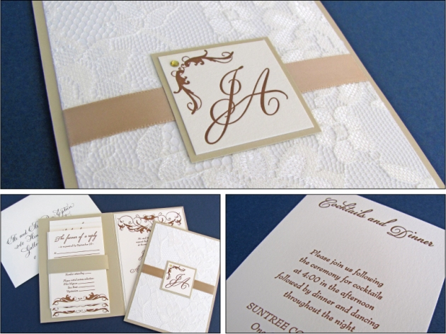 Lace letterpress wedding invitation in ivory, gold, and caramel