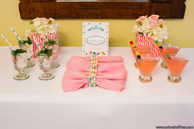 Candy land themed wedding signature drinks