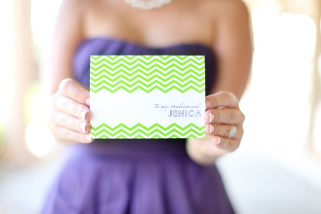 Dogwood Blossom Stationery, Wings of Glory, Mission Inn Resort, bridal party card, green chevron, purple