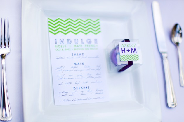 Dogwood Blossom Stationery, Wings of Glory, Mission Inn Resort, wedding menus, green chevron, modern
