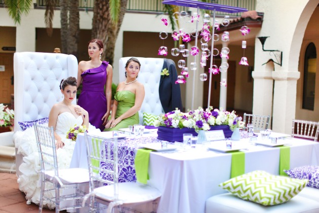 Dogwood Blossom Stationery, Wings of Glory, Mission Inn Resort, bridal party, reception table, inspiration, green and purple, bold prints