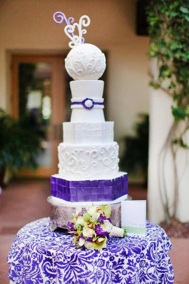 Dogwood Blossom Stationery, Wings of Glory, Mission Inn Resort, wedding cake, purple and white