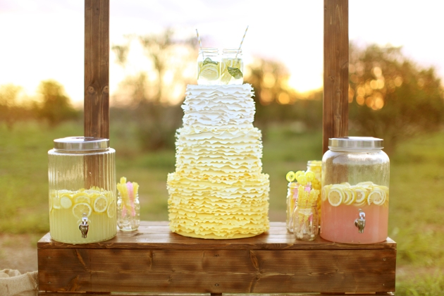 Dogwood Blossom Stationery, Wings of Glory Photography, yellow ombre wedding cake, lemonade