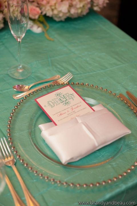 Brandy and Beau Photography, Rosen Shingle Creek, FL Southern College, Dogwood Blossom Stationery, Dinner Menu and Plate