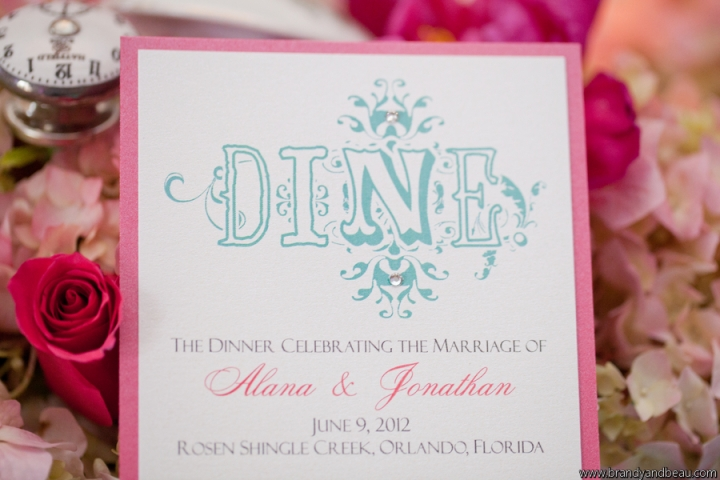 Brandy and Beau Photography, Rosen Shingle Creek, FL Southern College, Dogwood Blossom Stationery, Menu