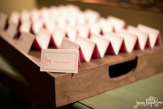 Custom escort cards by Dogwood Blossom Stationery
