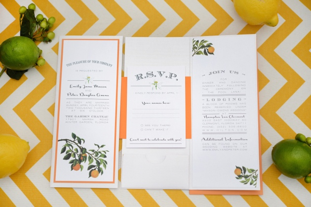 Orange wedding invitations created by Dogwood Blossom Stationery