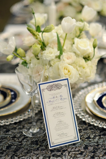 Royal Blue Wedding Reception Menus by Dogwood Blossom Stationery