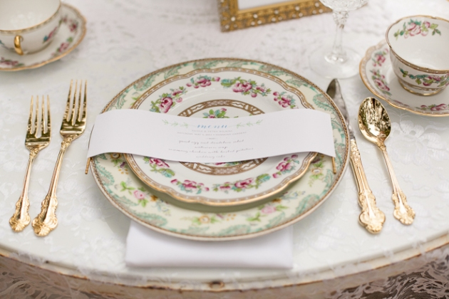 Bumby Photography, Harmony Gardens, Dogwood Blossom Stationery, Menu and Vintage China