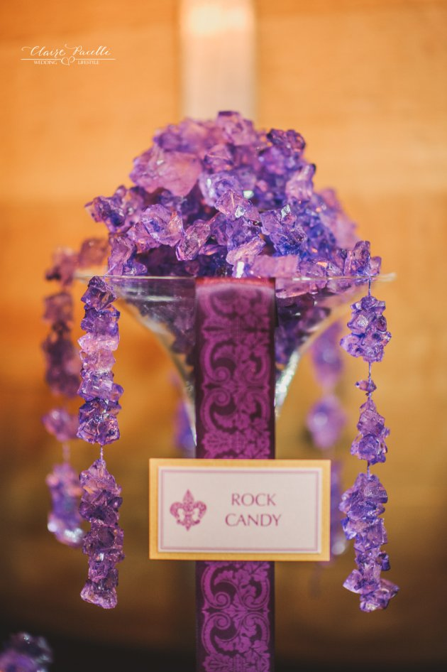 Gold and Radiant Orchid Candy Buffet Sign by Dogwood Blossom Stationery
