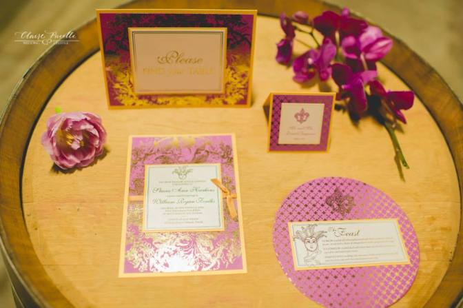 Radiant Orchid and Gold Custom Wedding Paper Goods, Dogwood Blossom Stationery