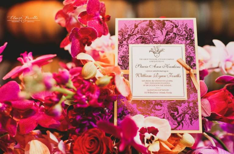 Radiant Orchid Invitation by Dogwood Blossom Stationery